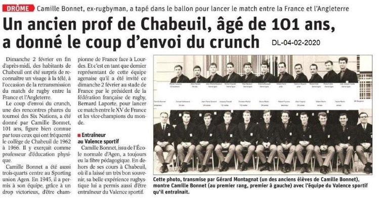 Le Dauphiné Libéré du 04-02-2020- C. Bonnet- rugby Chabeuil