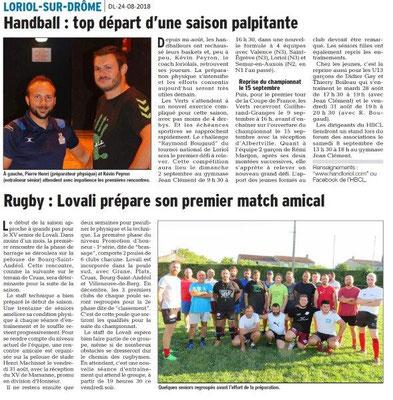 Dauphiné Libéré du 24-08-2018- Reprise du Sport à Loriol