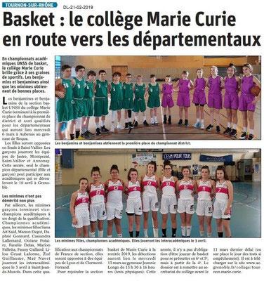 Dauphiné Libéré du 21-02-2019- Basket de Tournon