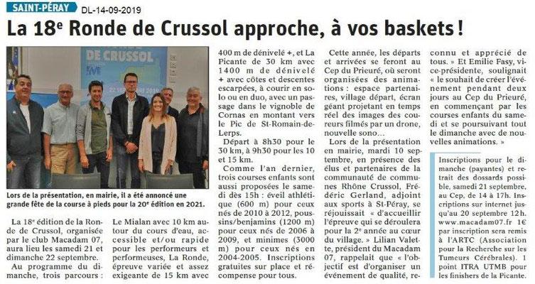 Dauphiné libéré du 14-09-2019- Ronde de Crussol