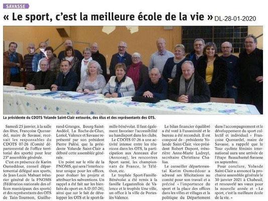 Dauphiné Libéré du 28-01-2020- AG CDOTS 07-26 à Savasse