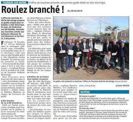 Le Dauphiné Libéré du 09-04-2019- Roulez branché à Tournon