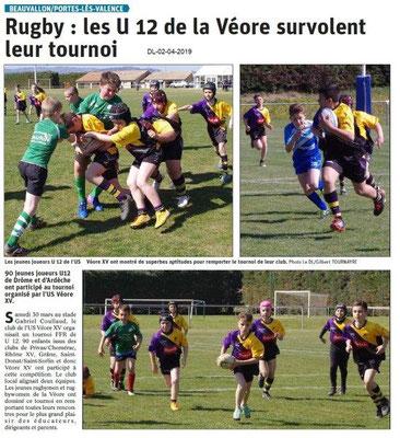 Le Dauphiné Libéré du 02-04-2019- Rugby Véore XV de PLV