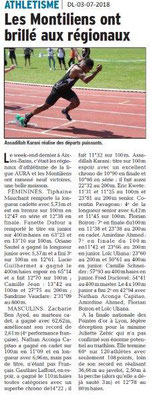 Dauphiné Libéré du 03-07-2018- Résultats d'Athlétisme Montélimar