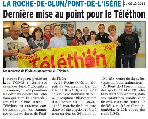 Dauphiné libéré du 06-12-2018- Téléthon La Roche de Glun