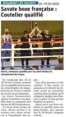 Dauphiné Libéré du 19-02-2020- Savate boxe française