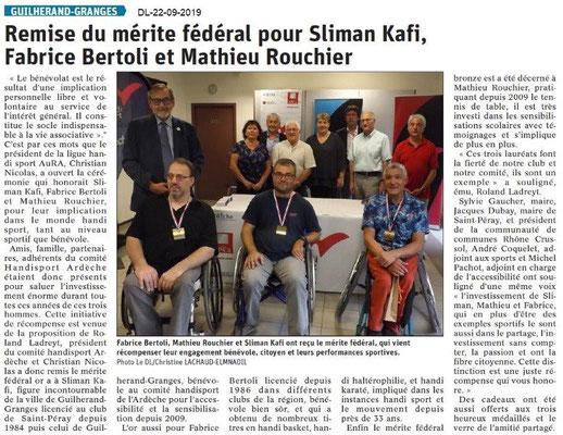 Dauphiné libéré du 22-09-2019- Mérite fédéral à Guilherand Comité 07 Handisport