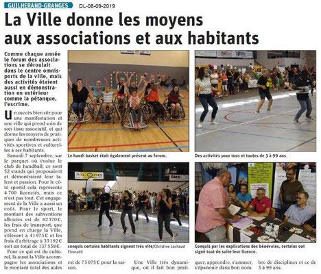 Dauphiné libéré du 08-09-2019- Forum de Guillerand-Grange