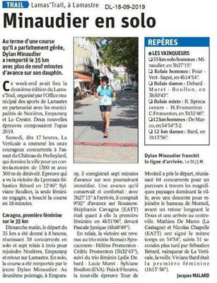 Dauphiné libéré du 18-09-2019- Lamas'trail résultats