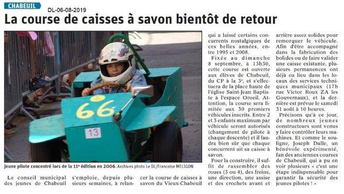 Dauphiné Libéré du 06-08-2019- Courses de boites à savon à Chabeuil