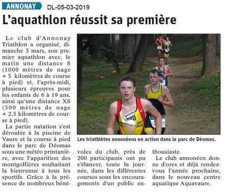 Le Dauphiné Libéré du 05-03-2019-1er aquathlon d'Annonay