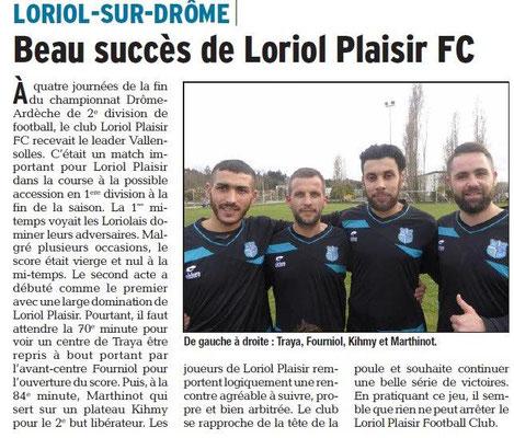 Dauphiné Libéré du 20-03-2018-Foot Club Loriol Plaisir