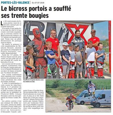 Dauphiné Libéré du 07-07-2018- 30 ans du Bicross Portois