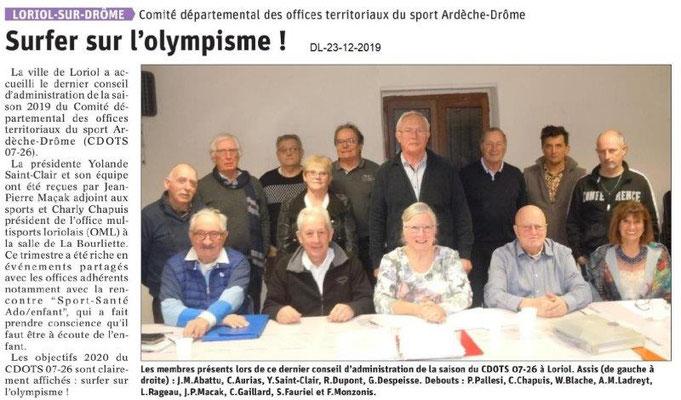 Dauphiné Libéré du 23-12-2019- CDOTS 07-26 Loriol