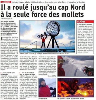 Le Dauphiné Libéré du 12-03-2019- Un lasmastrois à vélo au Cap Nord