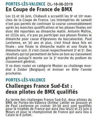 Dauphiné Libéré du 18-06-2019- BMX de PLV