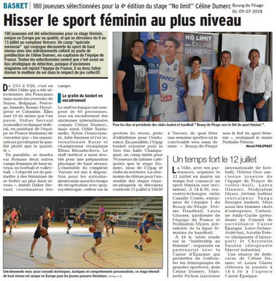 Dauphiné Libéré du 05-07-2018- Sélection pour le Basket à Bourg de Péage