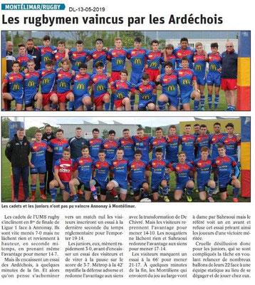 Le Dauphiné Libéré du 13-05-2019- Montélimar rugby