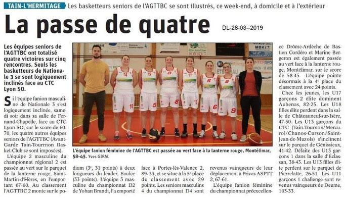 Dauphiné Libéré du 26-03-2019- Tain l'Hermitage AGTTBC séniors