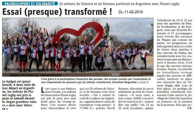 Dauphiné Libéré du 11-02-2019- Valence et le Rugby