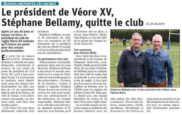 Le Dauphiné Libéré du 25-04-2019- Véore XV PLV