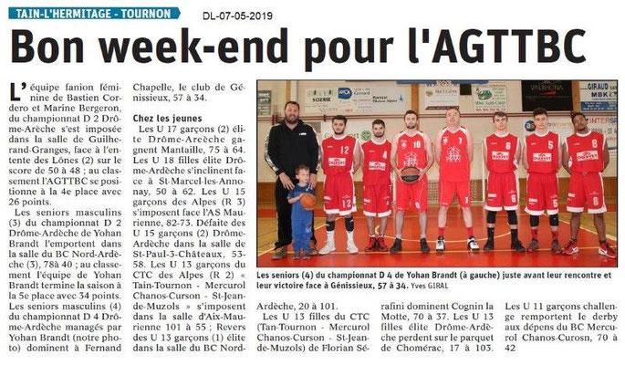 Le Dauphiné Libéré du 07-05-2019- Basket de Tain-Tournon