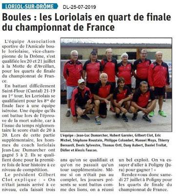 Dauphiné Libéré du 25-07-2019- Boules loriolaise