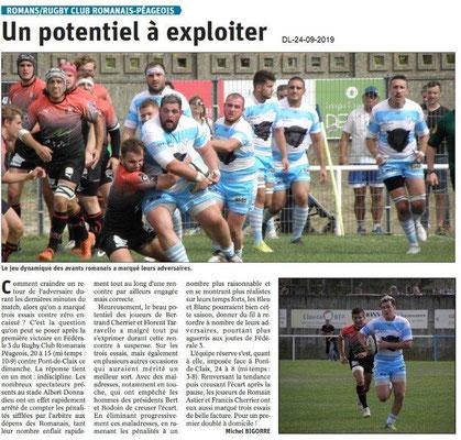 Dauphiné libéré du 24-09-2019- Rugby péageois