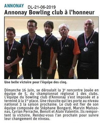 Dauphiné Libéré du 21-06-2019- Bowling Club d'Annonay
