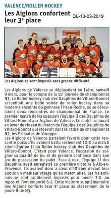 Le Dauphiné Libéré du 13-03-2019- Roller hockey de Valence