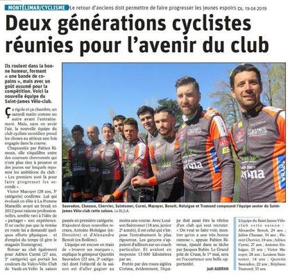 Le Dauphiné Libéré du 19-04-2019- Vélo Club de Montelimar