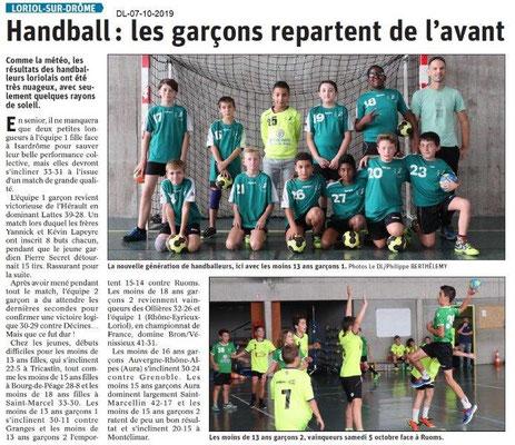 Dauphiné libéré du 07-10-2019- Handballeurs de Loriol