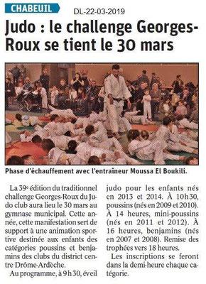 Dauphiné Libéré du 22-03-2019- Judo à Chabeuil