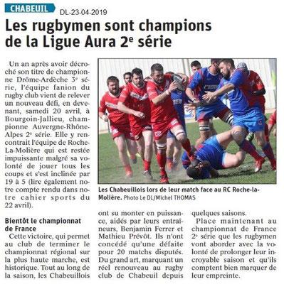 Le Dauphiné Libéré du 23-04-2019- Rugby de Chabeuil