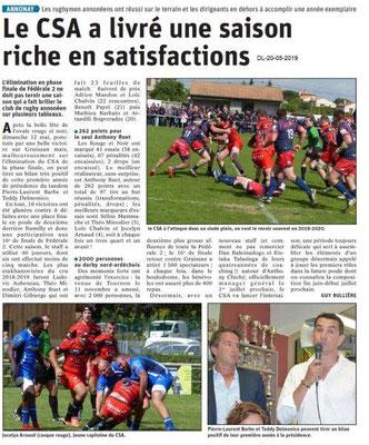 Le Dauphiné Libéré du 20-05-2019- Rugby annonéen 2019