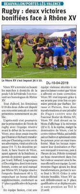 Le Dauphiné Libéré du 10-04-2019- Rugby Véore XV PLV