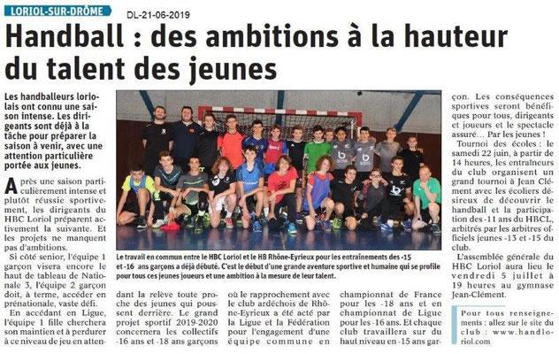 Dauphiné Libéré du 21-06-2019- Handball de Loriol.