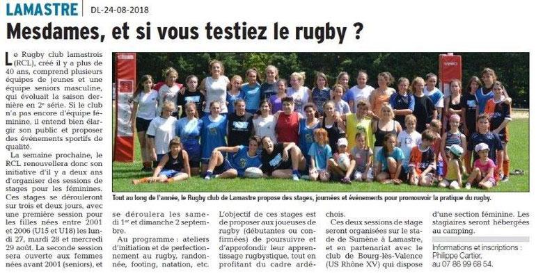 Dauphiné Libéré du 24-08-2018- Rugby club Lamastrois avec des féminines