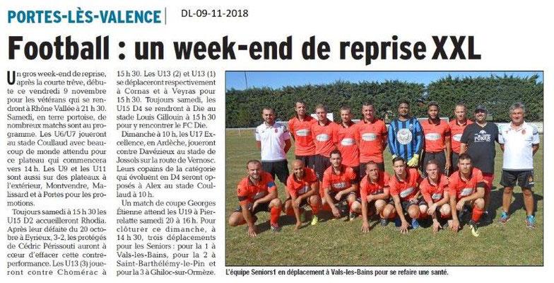 Dauphiné Libéré du 09-11-2018- Foot PLV Seniors
