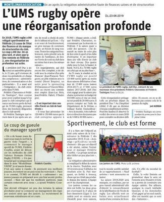 Dauphiné Libéré du 23-06-2019- UMS rugby Montélimar