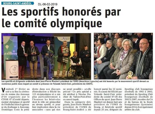Dauphiné Libéré du 06-02-2019 - JPMaubert-BSA récompensé à Annonay