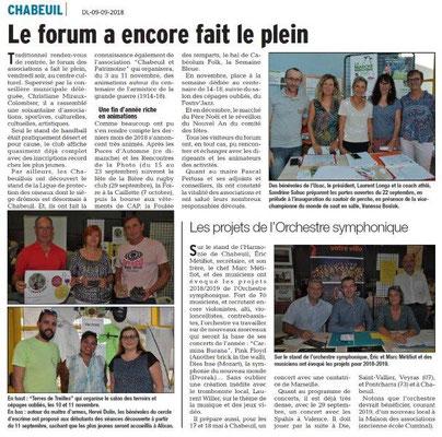 Dauphiné Libéré du 09-09-2018- Forum Associations de Chabeuil