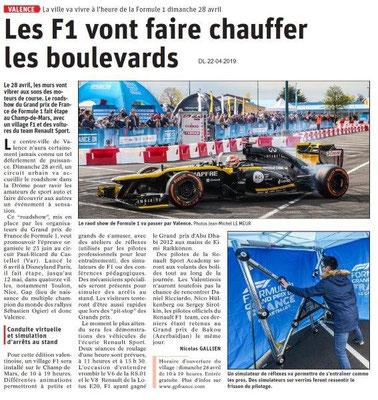 Le Dauphiné Libéré du 22-04-2019- F1 à Valence