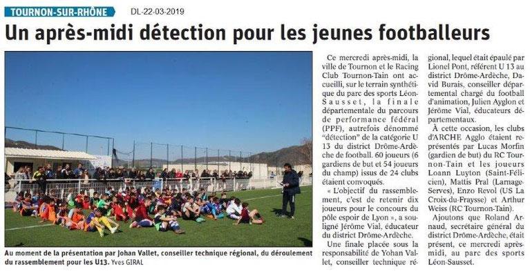 Dauphiné Libéré du 22-03-2019- Détection foot à Tournon