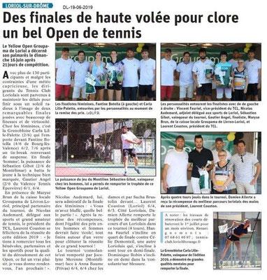 Dauphiné Libéré du 19-06-2019- Tennis de Loriol