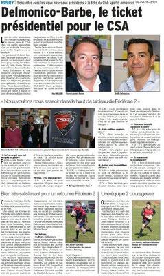 Dauphiné Libéré du 04-05-2018- Rugby- Annonay
