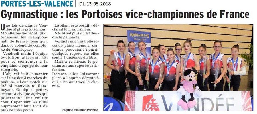 Dauphiné Libéré du 13-05-2018-GYM- Les Portoises vice-championne de France