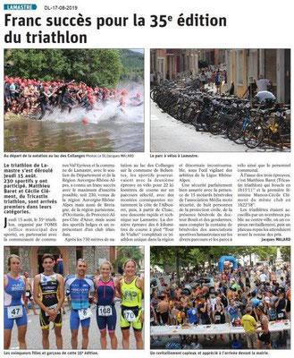 Dauphiné Libéré du 17-08-2019- 35ième triathlon à LAMASTRE