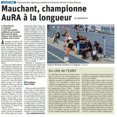 Dauphiné Libéré du 26-06-2019- Rugby à VII