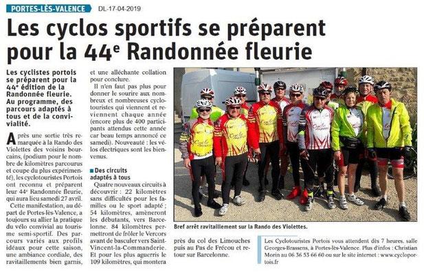 Le Dauphiné Libéré du 17-04-2019- Cyclo Portois